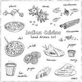 Fotografie Vektor hand gezeichnete Satz der indischen Küche. traditionelle scharf gewürzte Gerichte, Desserts, Getränke