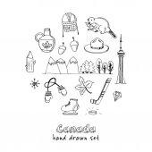 Canada hand drawn icon vector doodle set