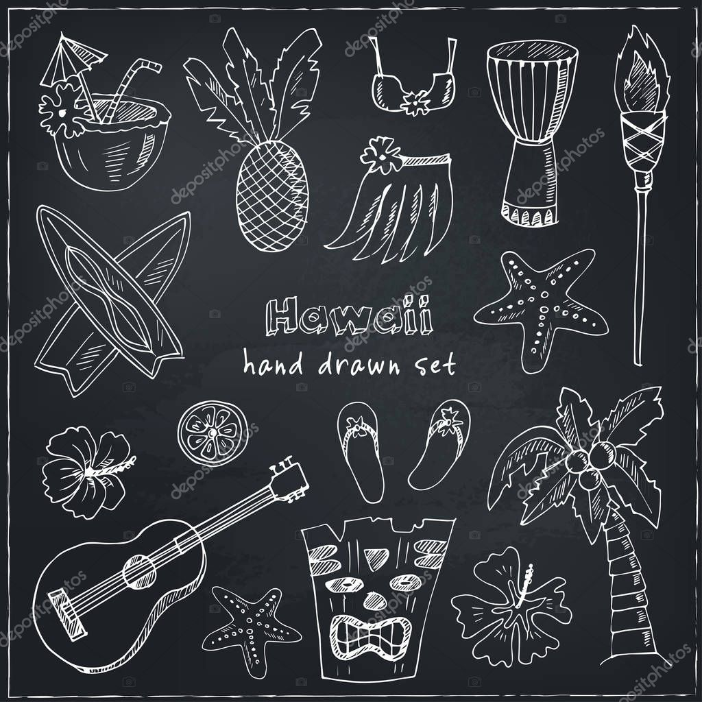 Hawaii Symbols and Icons, including Hula skirt, tiki gods, totem pole, drums, guitar, palm