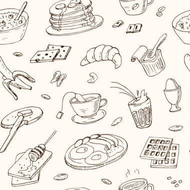 Vector breakfast and morning doodle seamless pattern