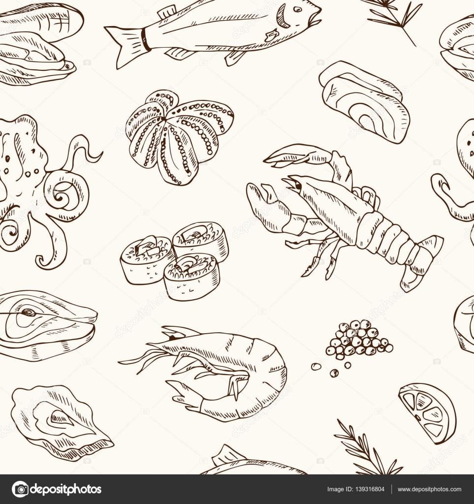 Patrón transparente de vector con ilustración de mariscos hechos a ...