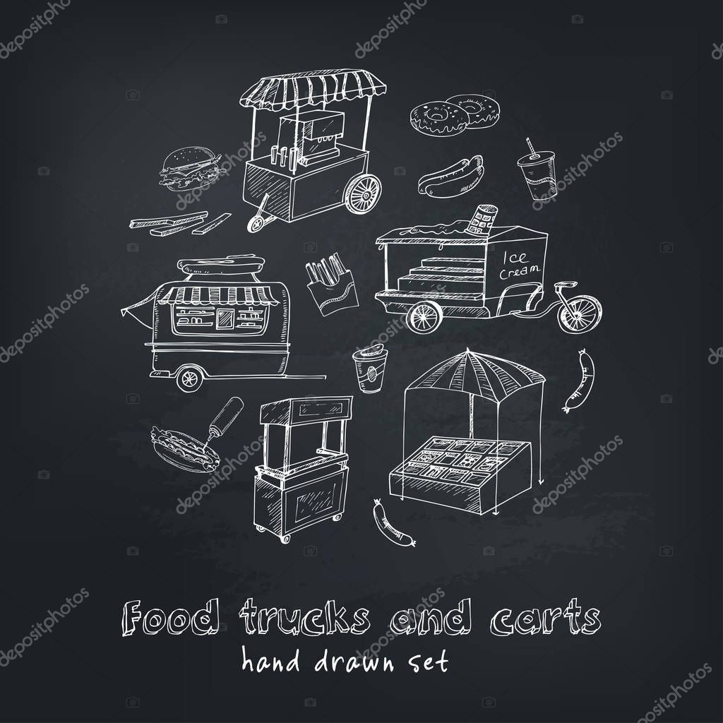 Street food trucks and carts selling hot dogs  wok dishes doodle set