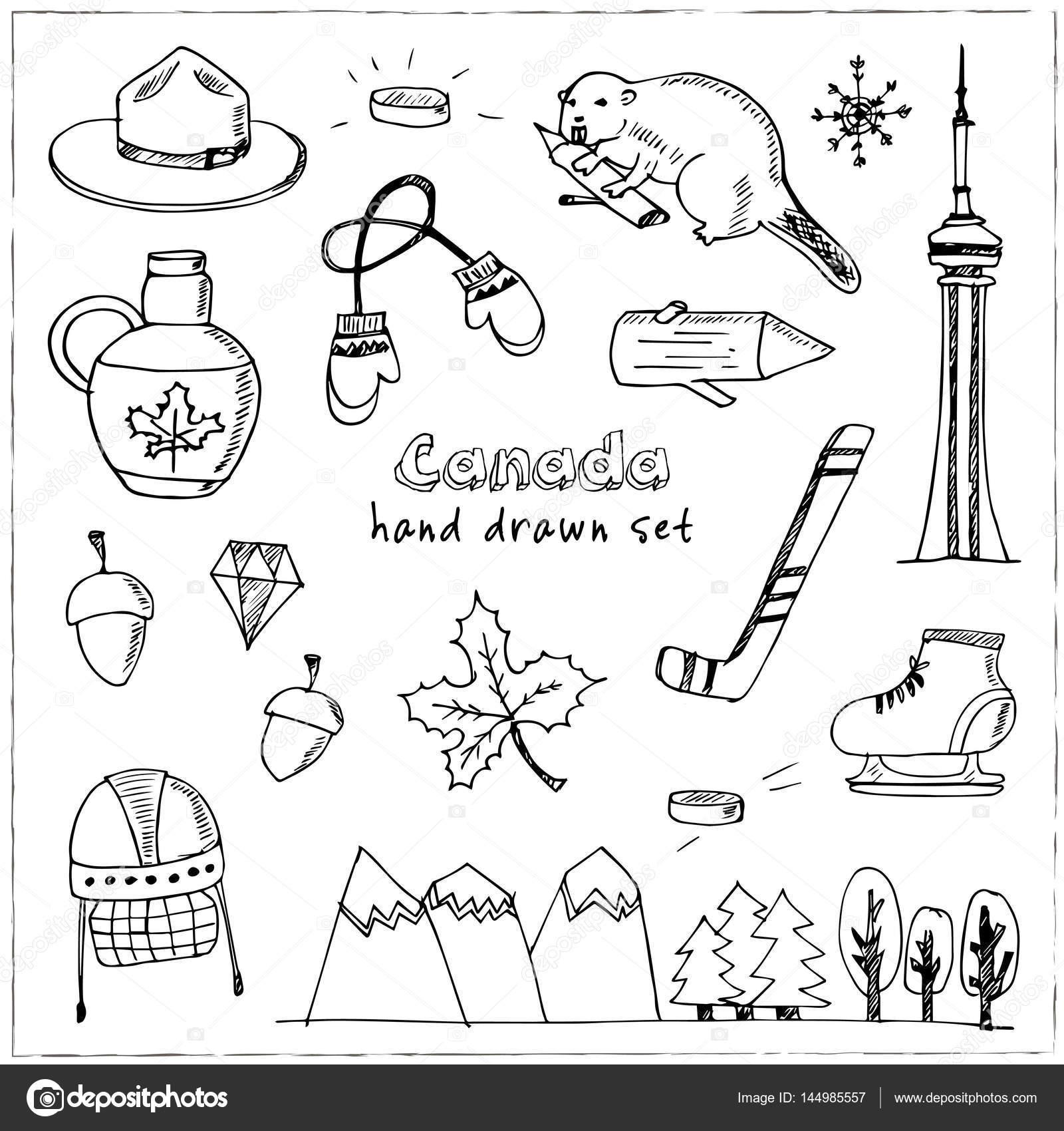 Kanada Hand gezeichnete Symbol Vektor doodle set — Stockvektor ...