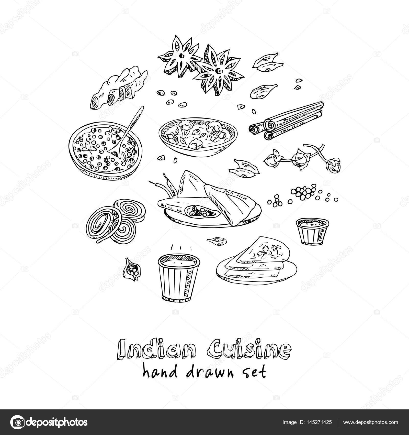 Vektor hand gezeichnete Satz der indischen Küche. traditionelle ...