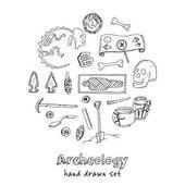 Fotografie Archäologie Hand gezeichnete Skizze festlegen der paläontologischen und archäologischen alten findet isoliert Vektor-illustration