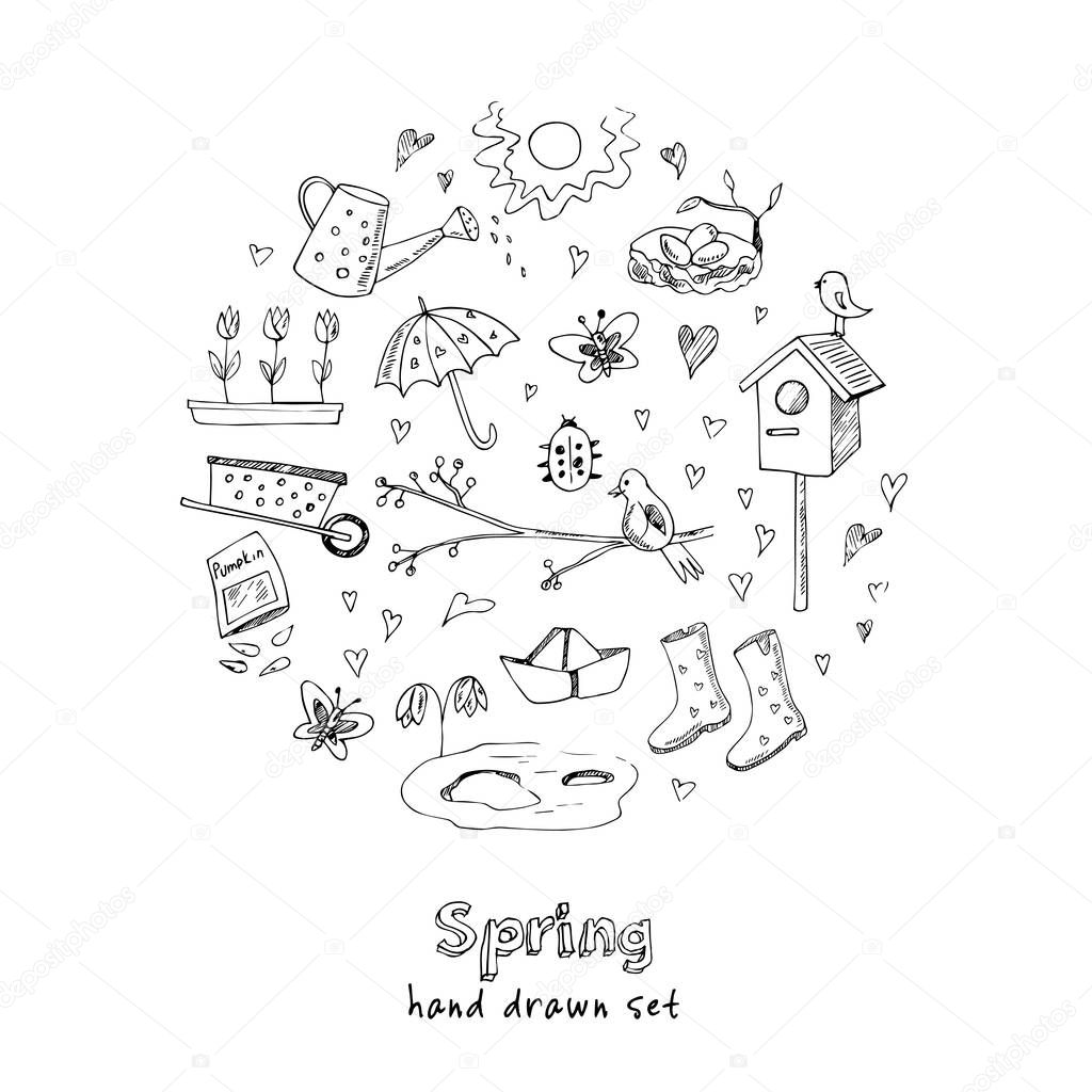 Spring doodles set. Hand drawn flowers, cats, birds, eggs, instruments, boots, clouds, butterflies.