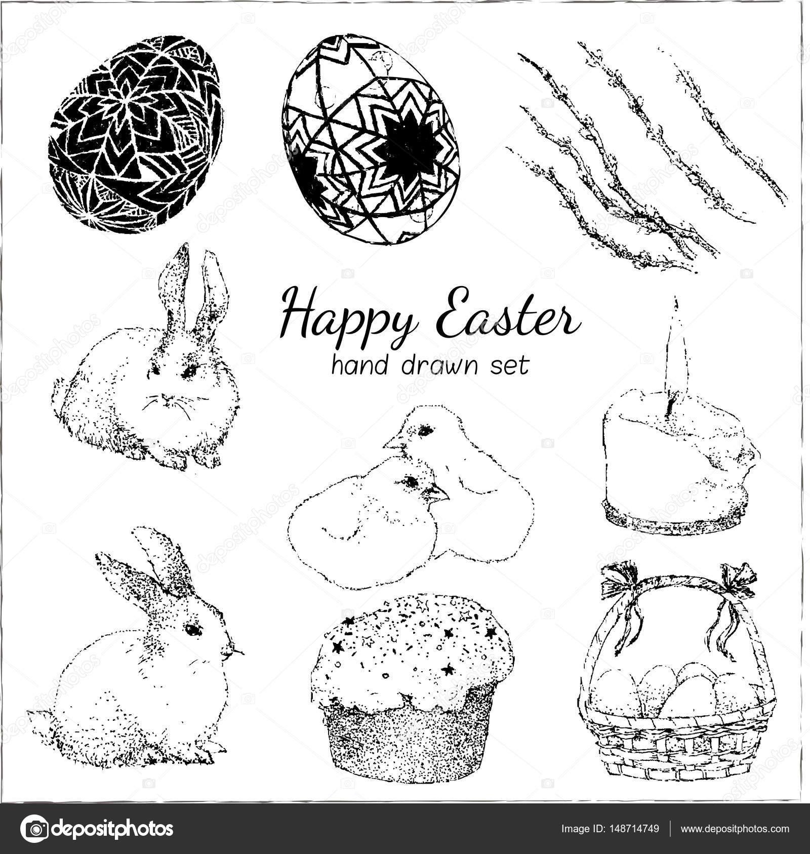 Frohe Ostern set mit Blume, Kaninchen, Kerze, Ei, Hase, Huhn. Vektor ...