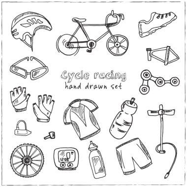Hand drawn doodle cycle racing set.