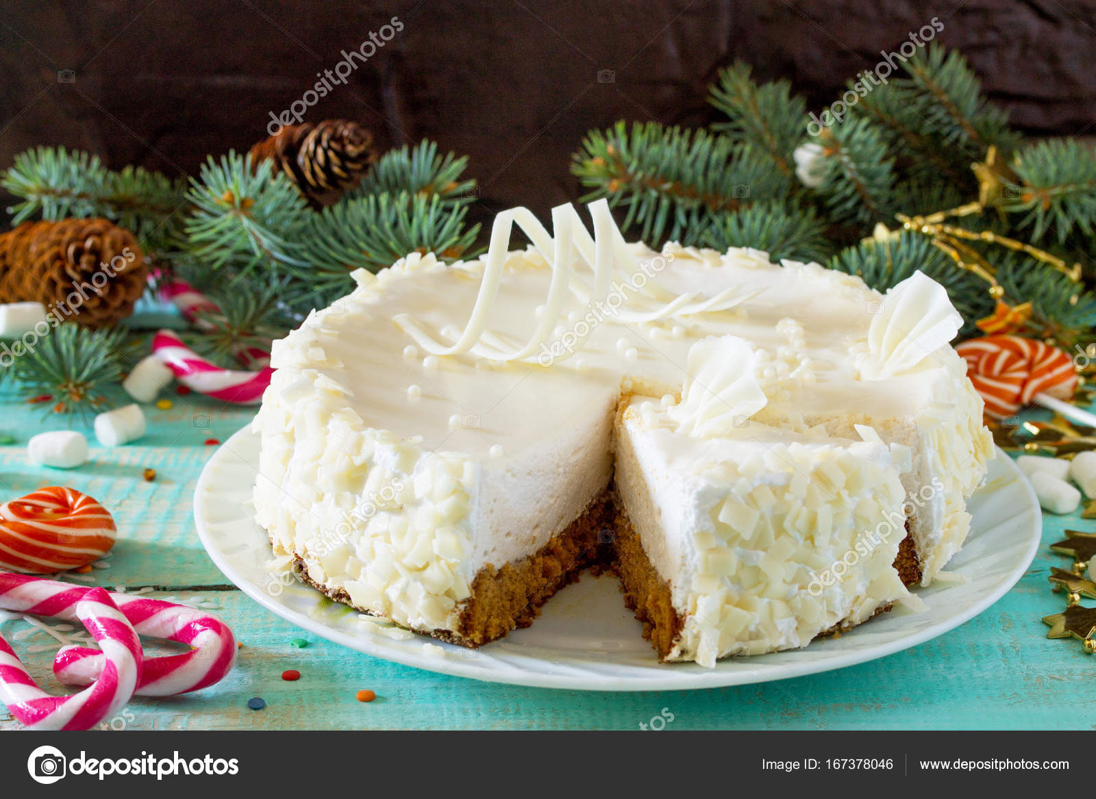 Birthday Cake With White Chocolate Icing On A Festive Christmas