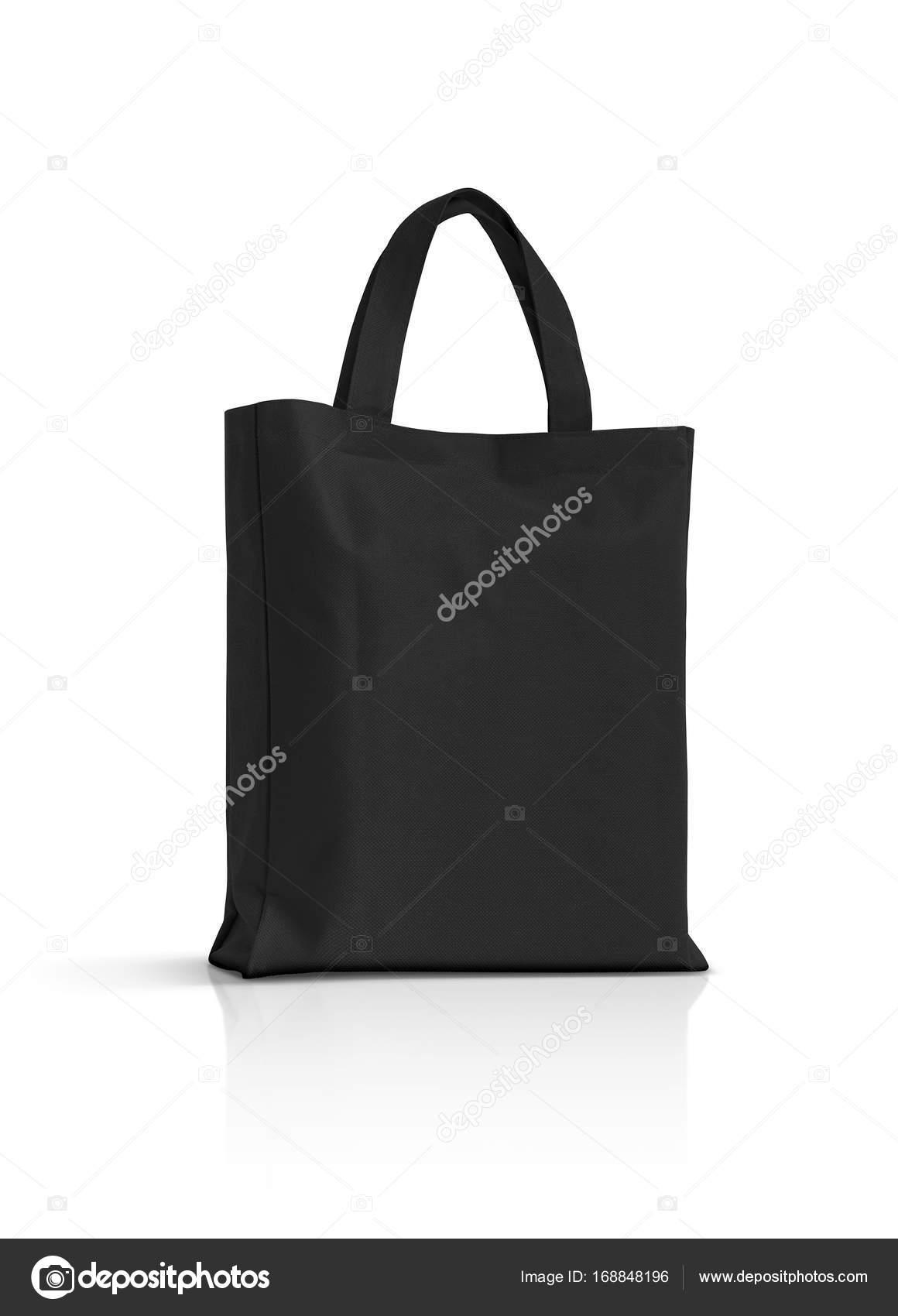 da1ec209f7348 Leere schwarze Stoff Canvas Tasche isoliert auf weißem Hintergrund —  Stockfoto