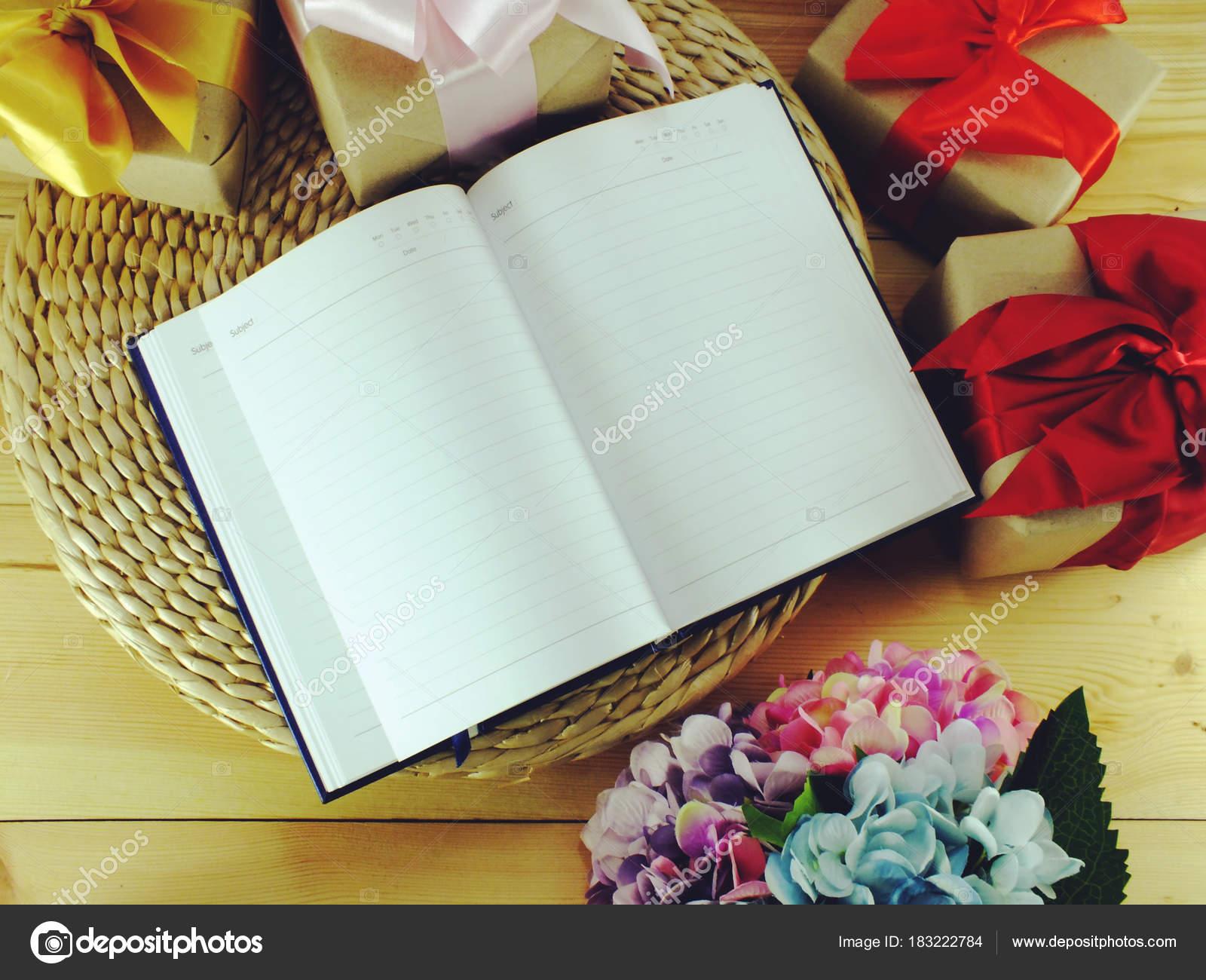 Decorar Espacio Cuaderno Papel Caja Con Hermoso Sobre Fondo