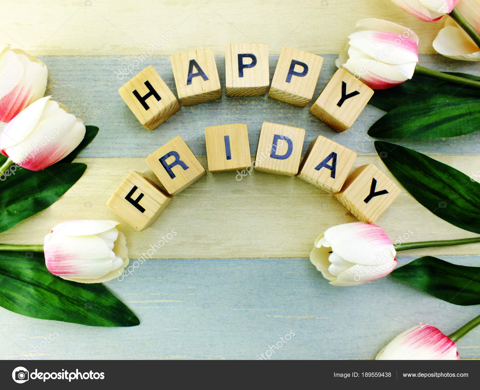 Happy Friday Flowers Bouquet Space Background Stock Photo
