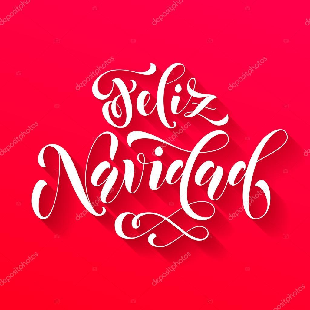 Christmas Wishes In Spanish.Feliz Navidad Lettering Spanish Merry Christmas Stock