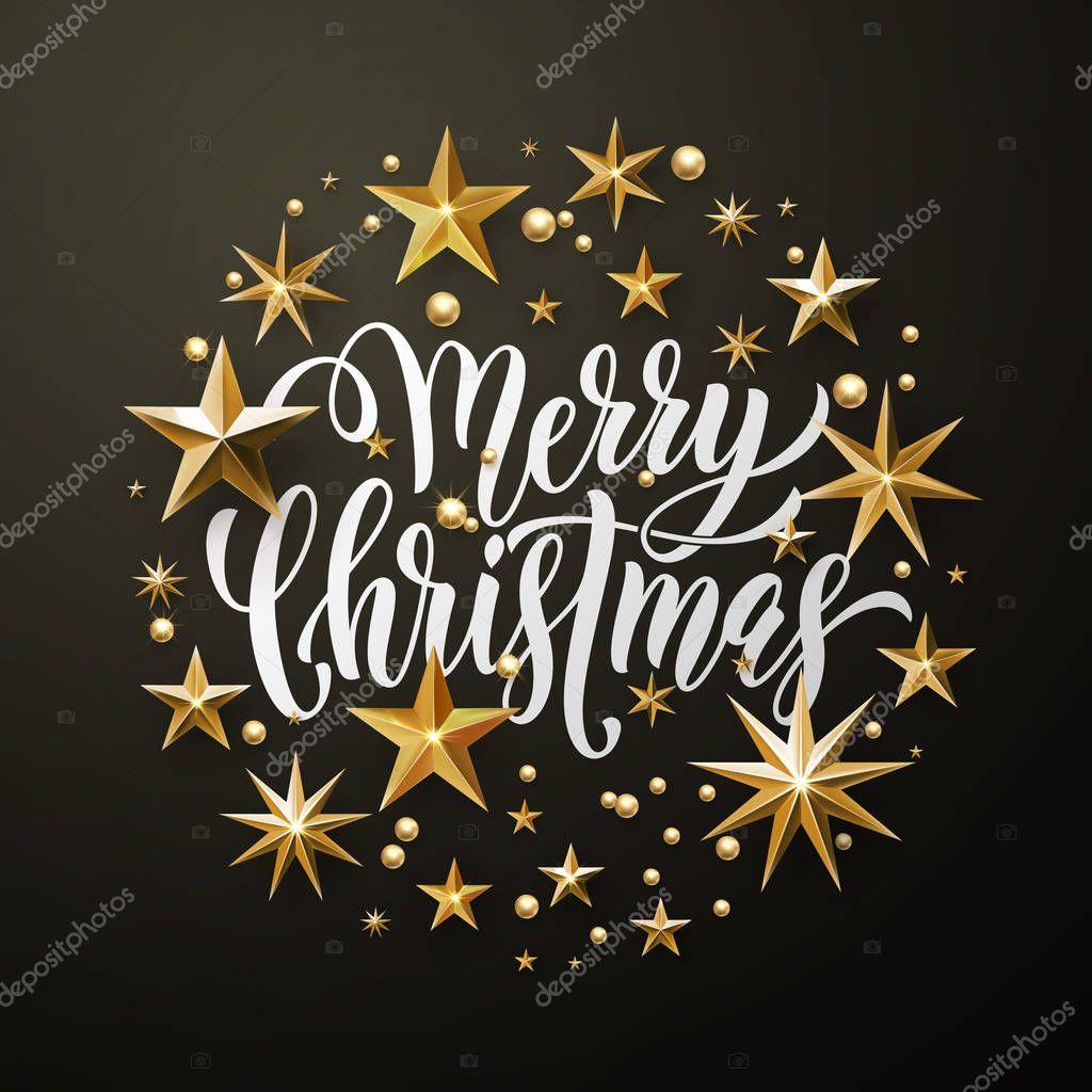 Buon Natale Glitter.Cartolina D Auguri Di Buon Natale Glitter Oro Stelle Vettoriali
