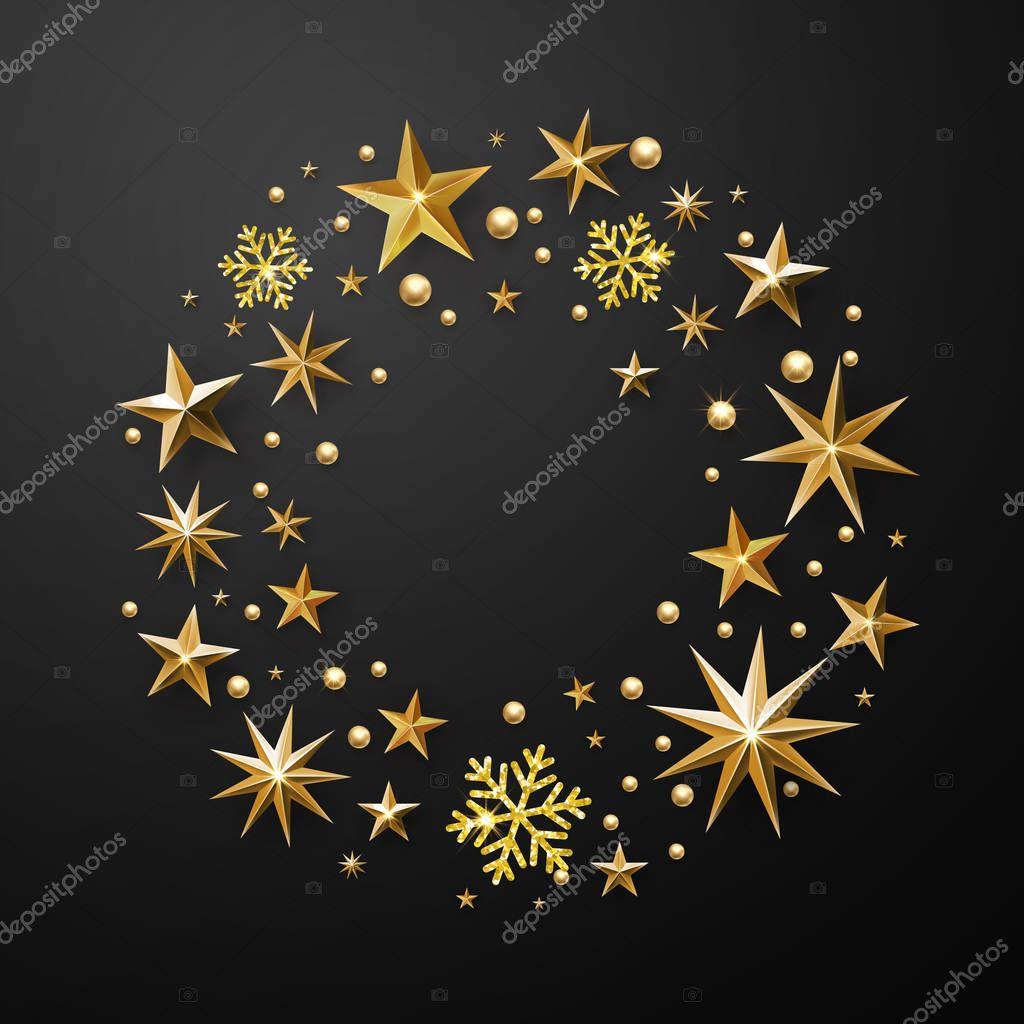 Weihnachten Kranz Dekoration Gold Glitter Sterne Schneeflocken