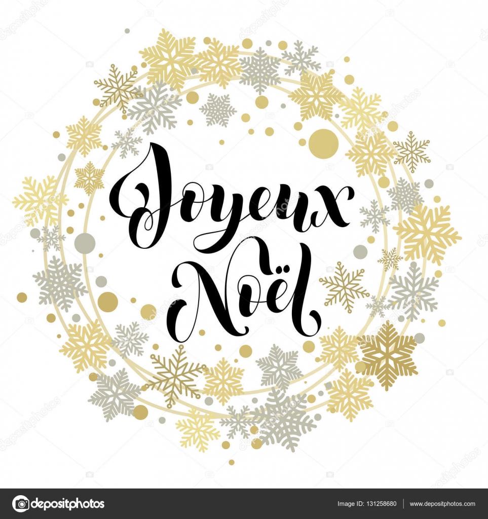 Französischer Text für Frohe Weihnachten Grußkarte — Stockvektor ...