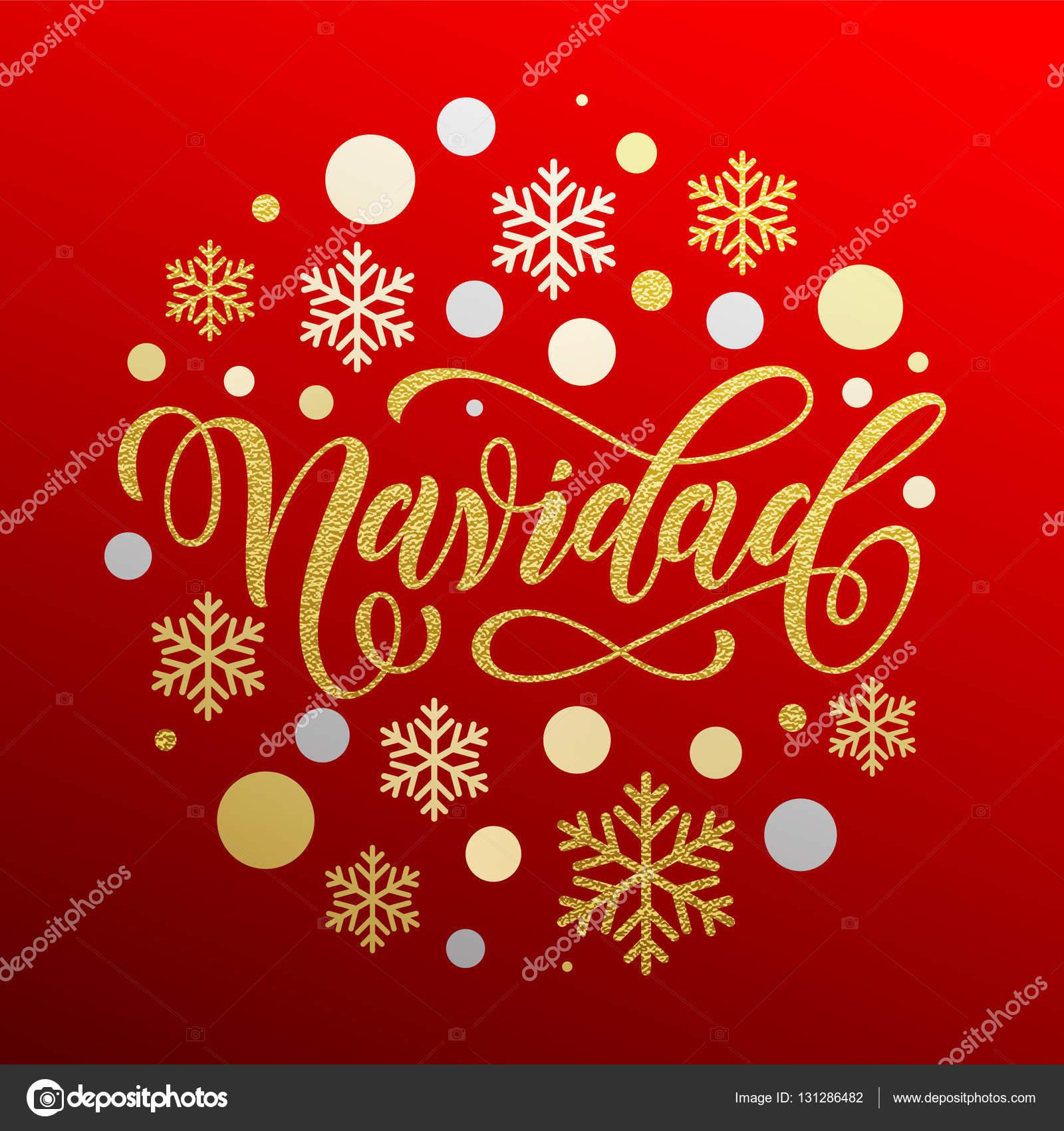 Weihnachtsgrüße Auf Spanisch.Weihnachten In Spanisch Navidad Gold Kalligraphie Stockvektor