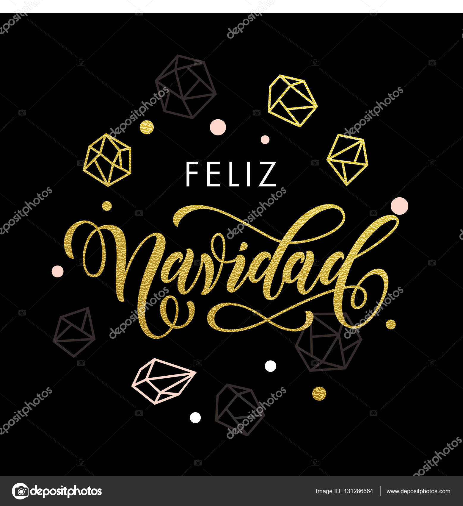 Merry Christmas Spanish Feliz Navidad greeting card — Stock Vector ...