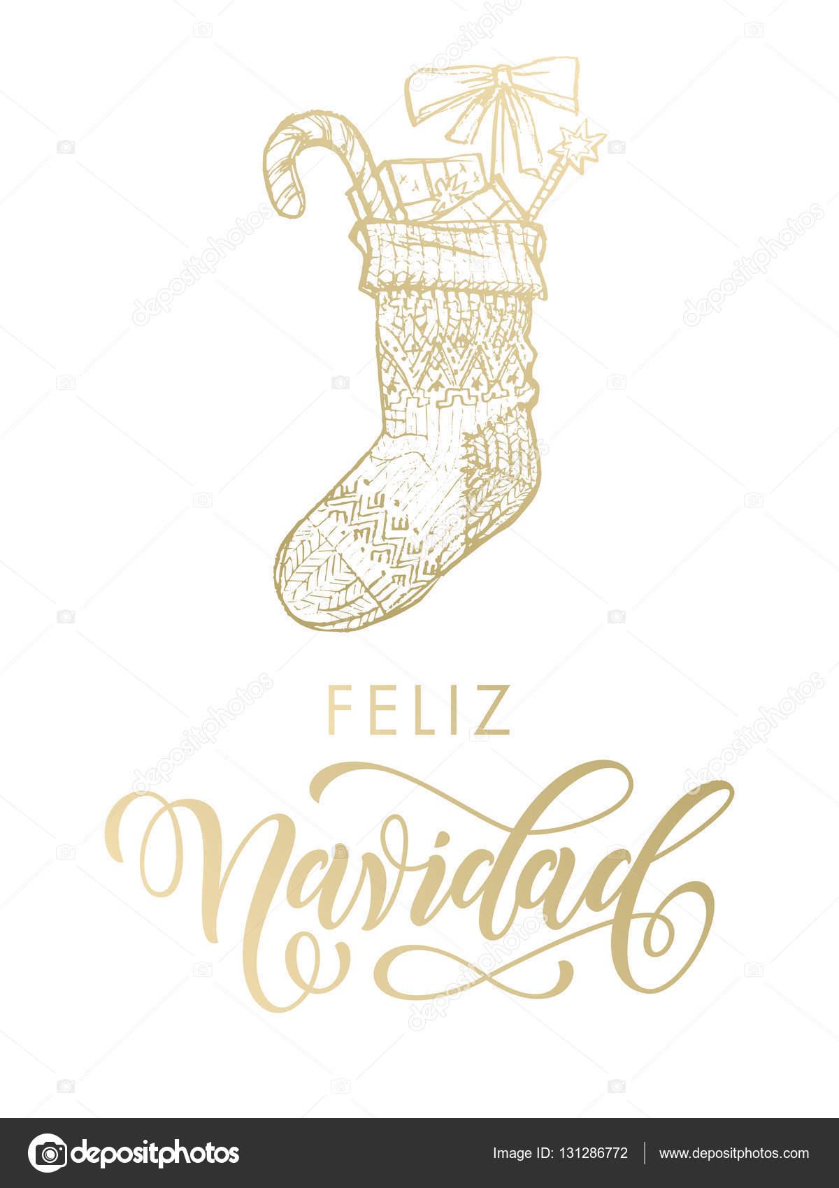 Buon Natale In Spagnolo.Buon Natale In Spagnolo Feliz Navidad Oro Glitter Regalo Calza Grafica Vettoriale C Ronedale 131286772 Depositphotos