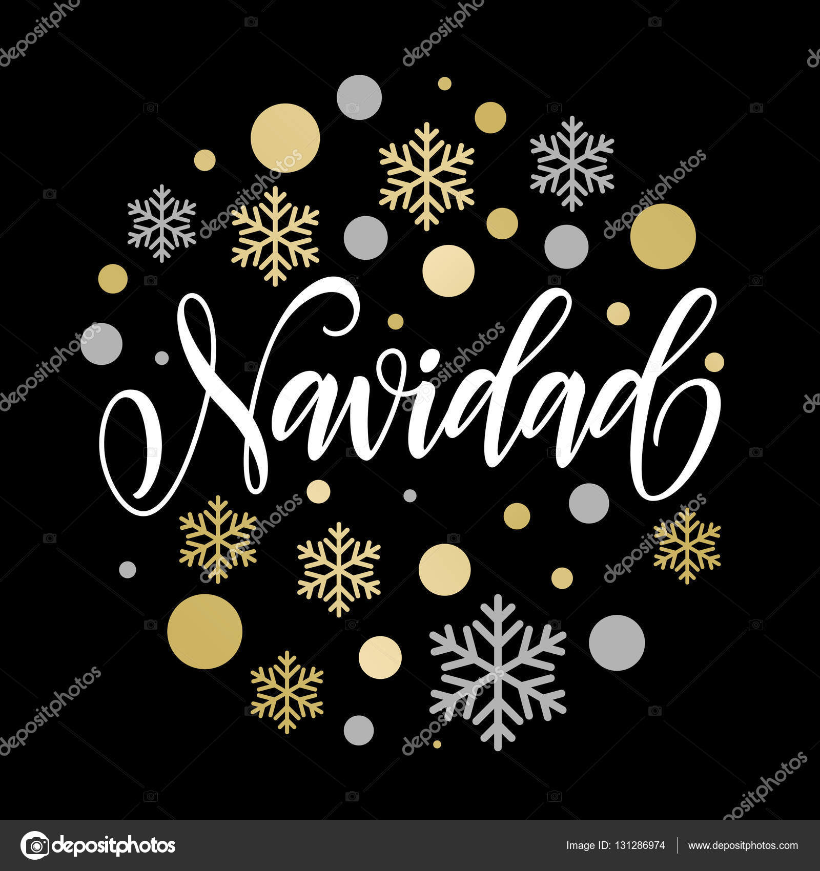 Merry christmas in spanish navidad text for greeting card stock spanish greeting for merry christmas feliz navidad card with golden and silver christmas ornaments decoration of snowflakes calligraphic lettering design kristyandbryce Images