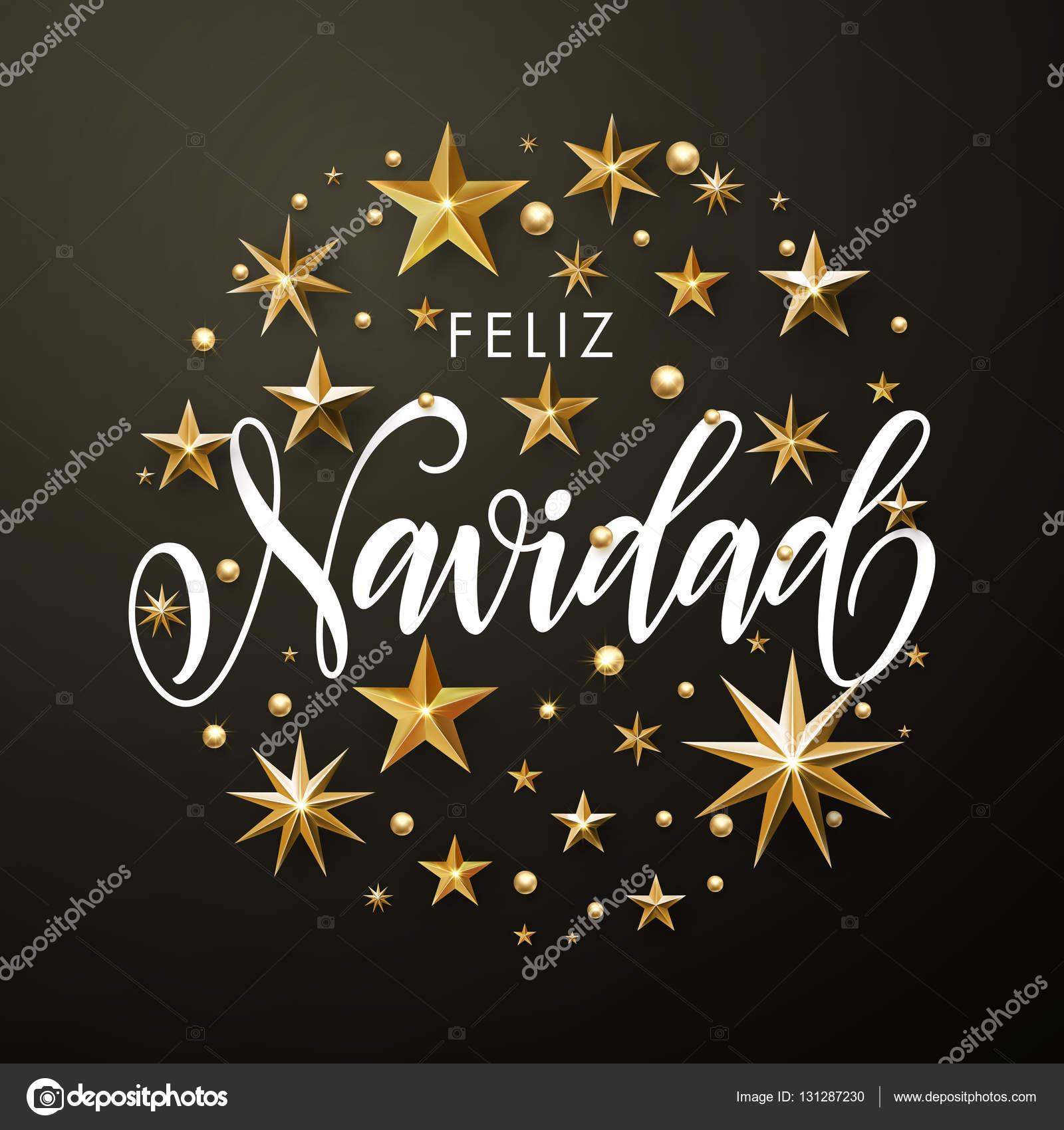 Spanish Merry Christmas Feliz Navidad gold glitter stars greeting ...