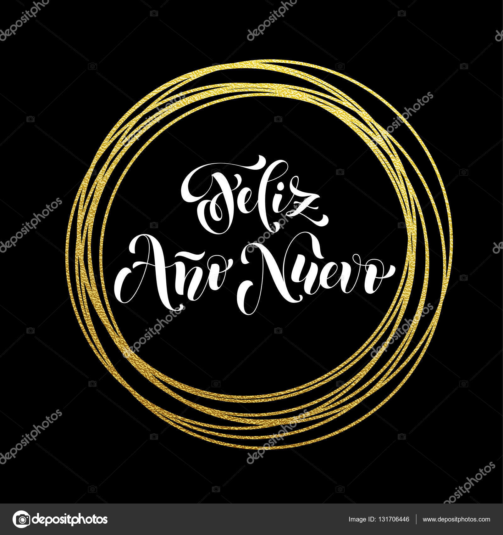 spanish happy new year feliz ano nuevo luxury golden greeting stock vector