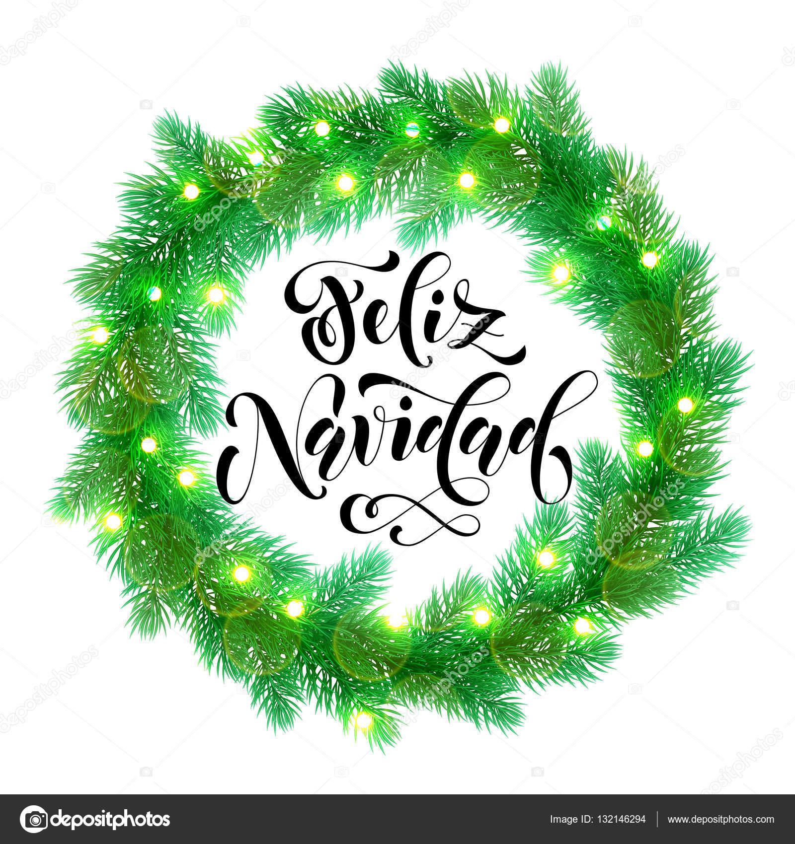 Spanish Christmas lights decoration Feliz Navidad design element ...