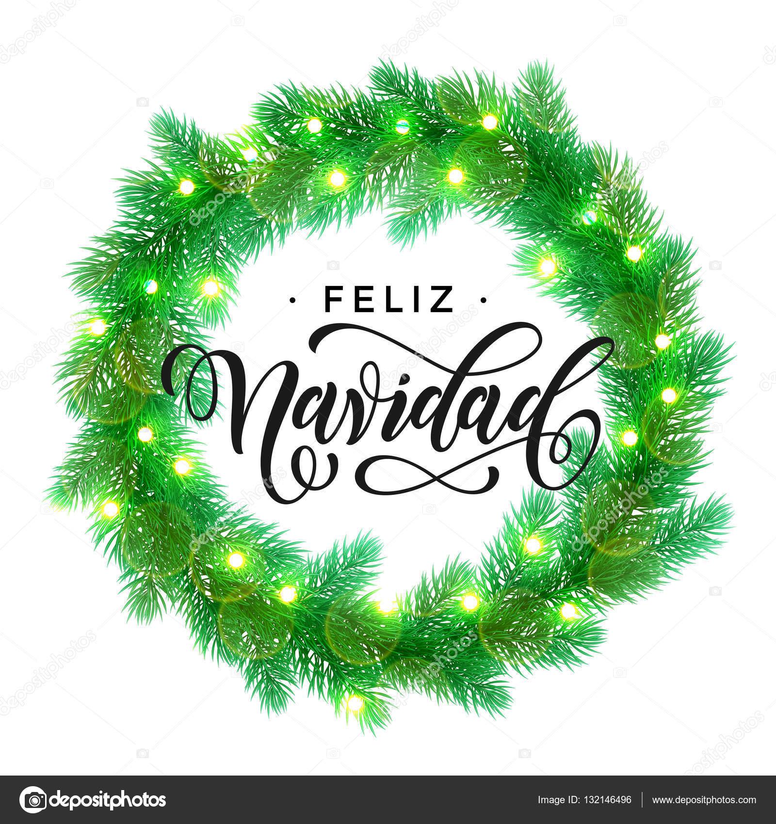 Decoration De Lumieres De Noel Espagnol Feliz Navidad Design Vecteur