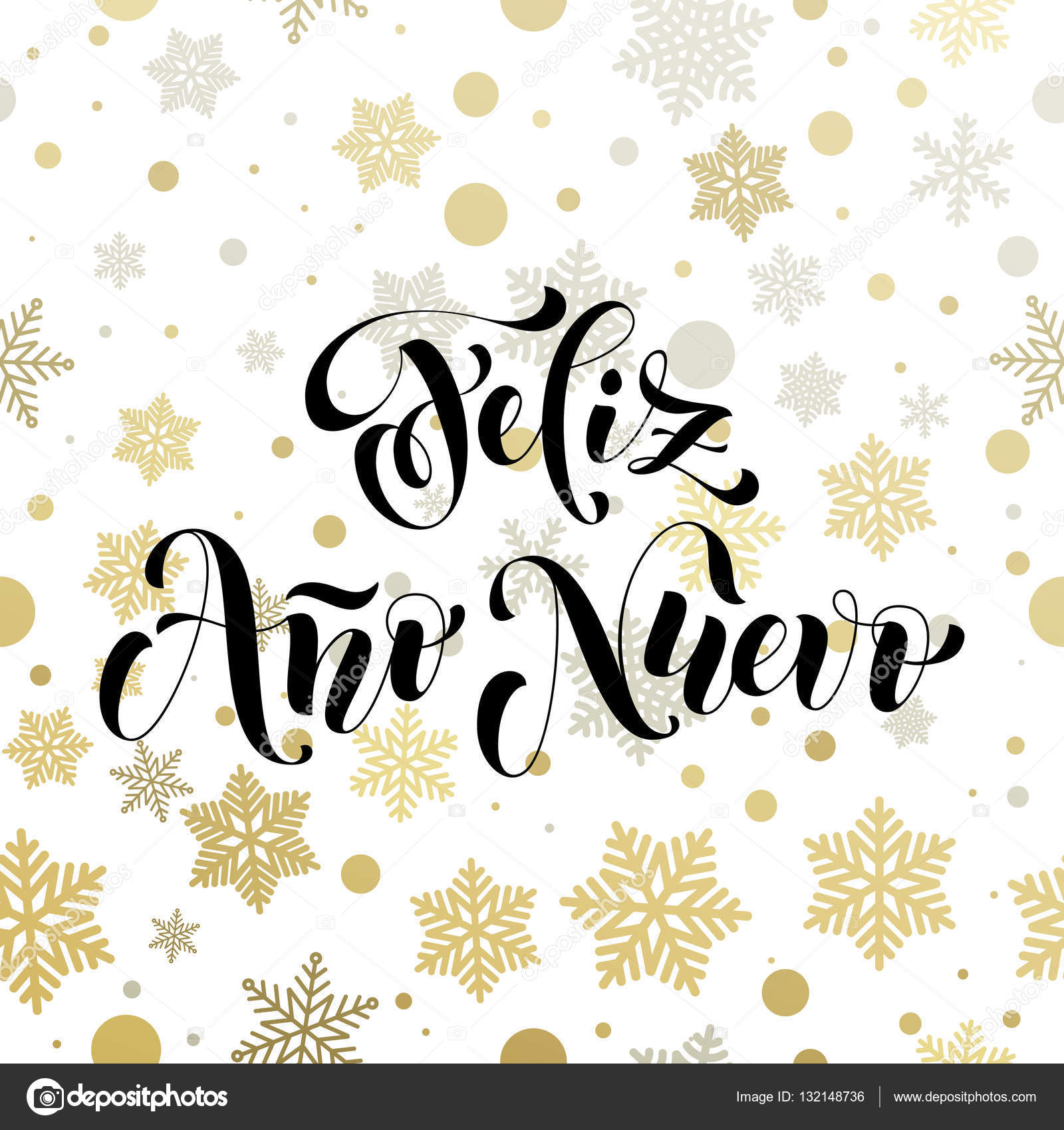 New Year In Spanish Golden Text Feliz Ano Nuevo Greeting Stock