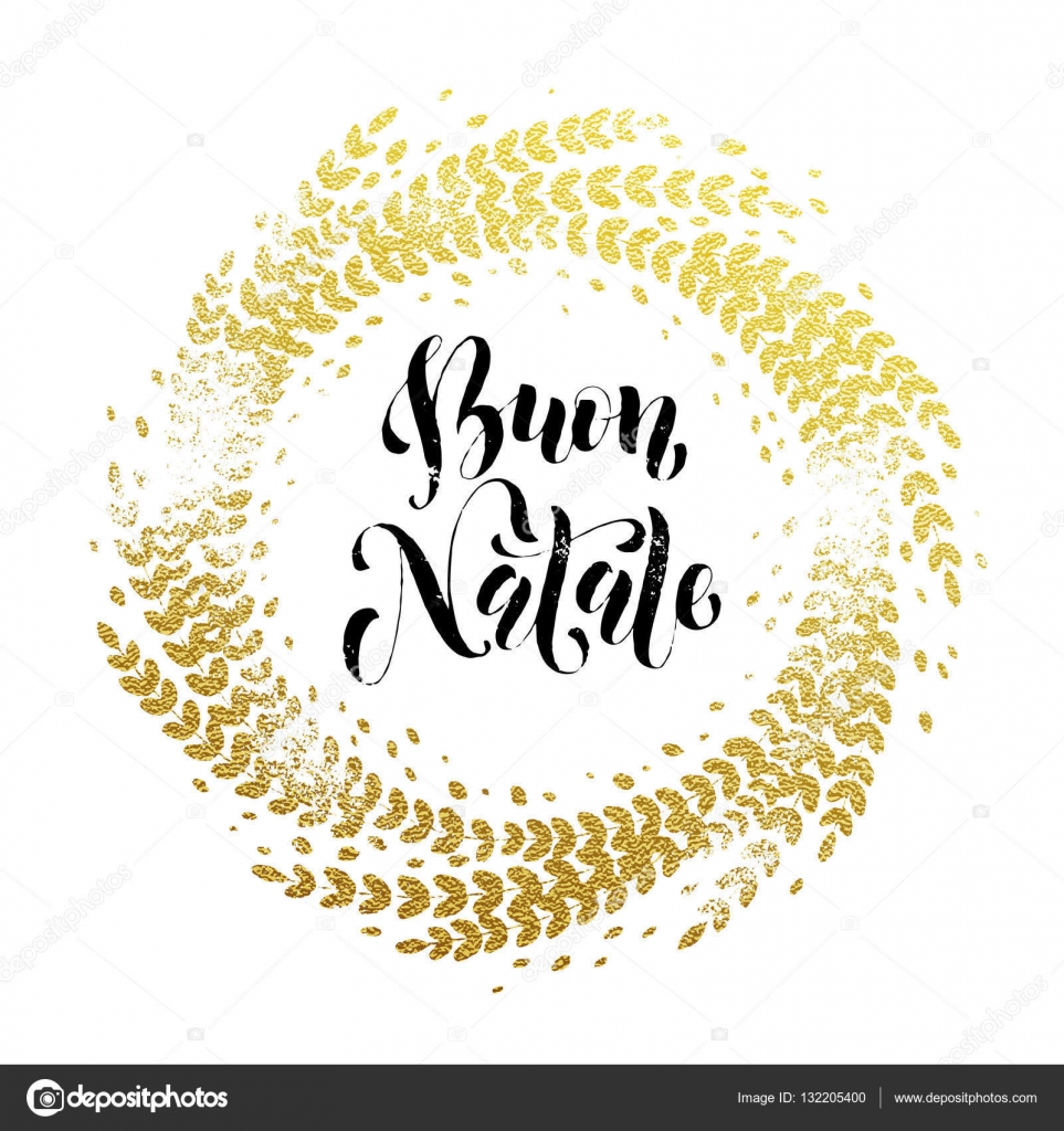 italian merry christmas buon natale greeting card golden glitter decoration stock vector