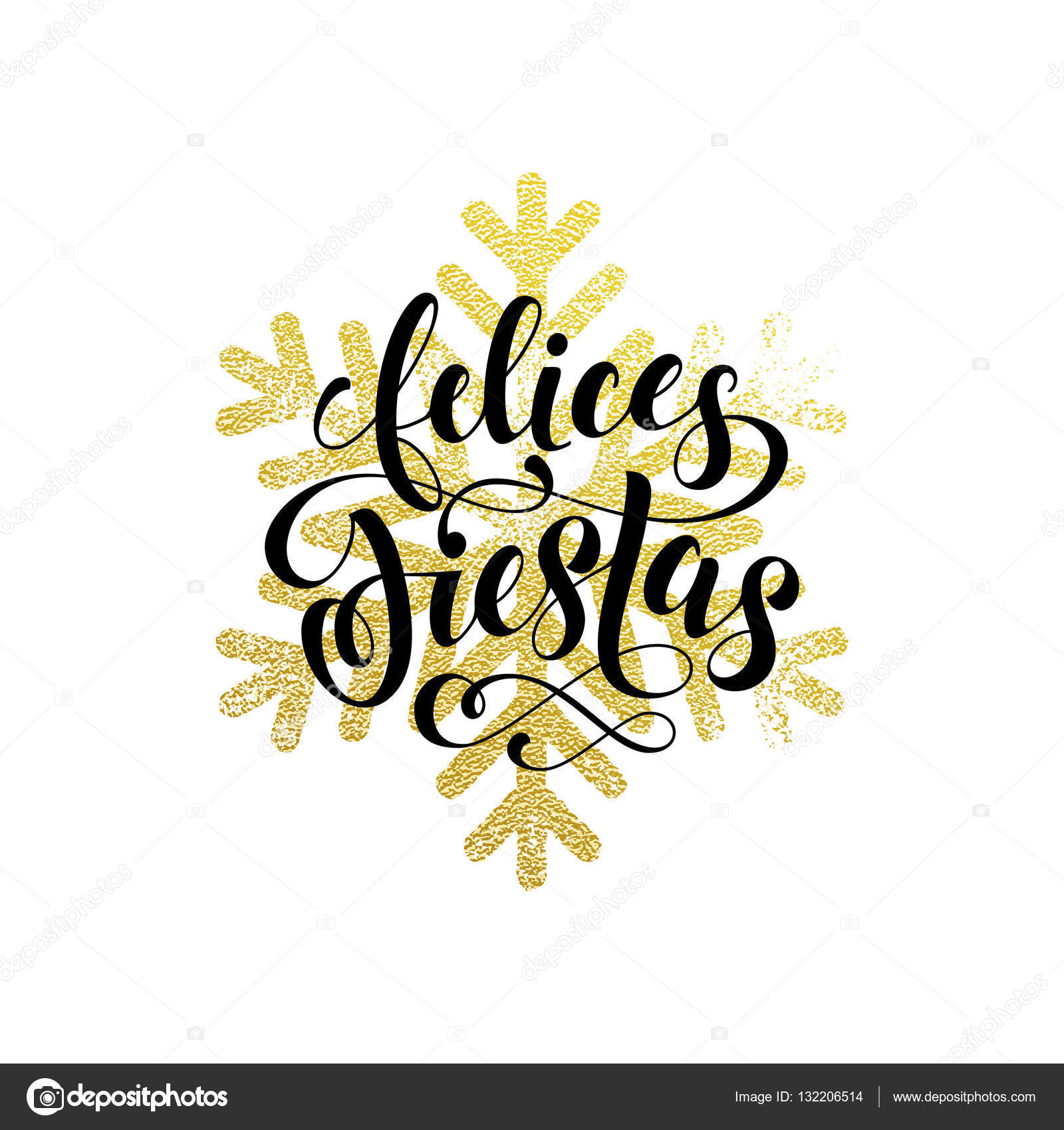 Winter holiday greeting card felices fiestas gold spanish winter holiday greeting card felices fiestas gold spanish lettering stock vector 132206514 kristyandbryce Images