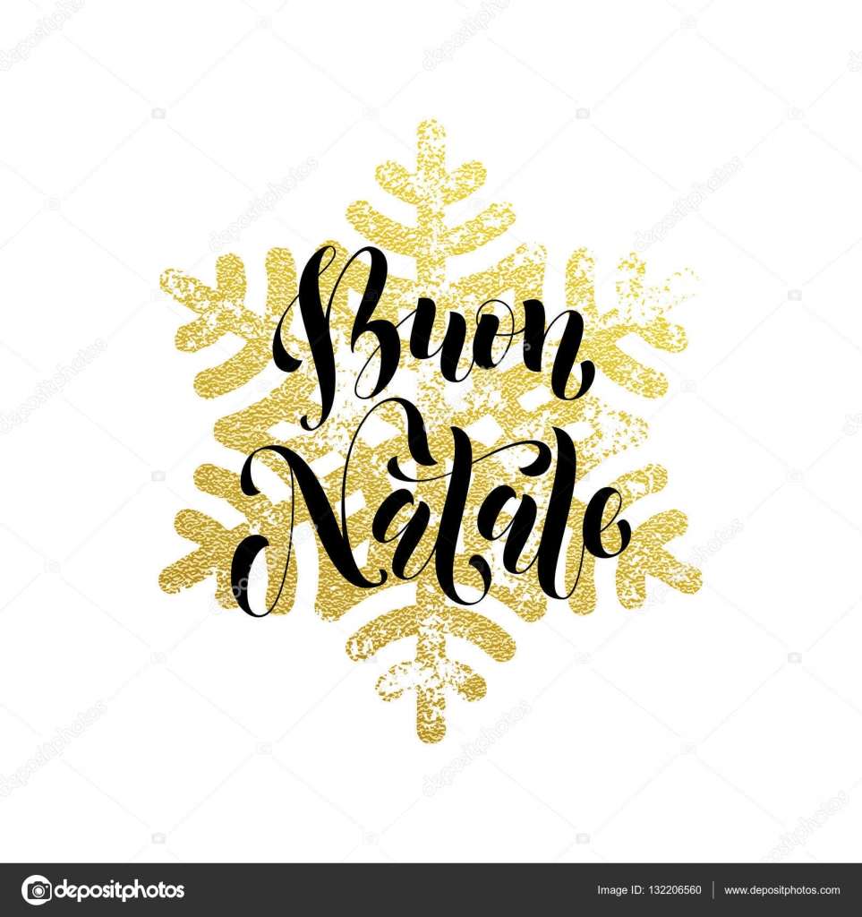 Christmas In Italy Buon Natale Golden Greeting Card Lettering
