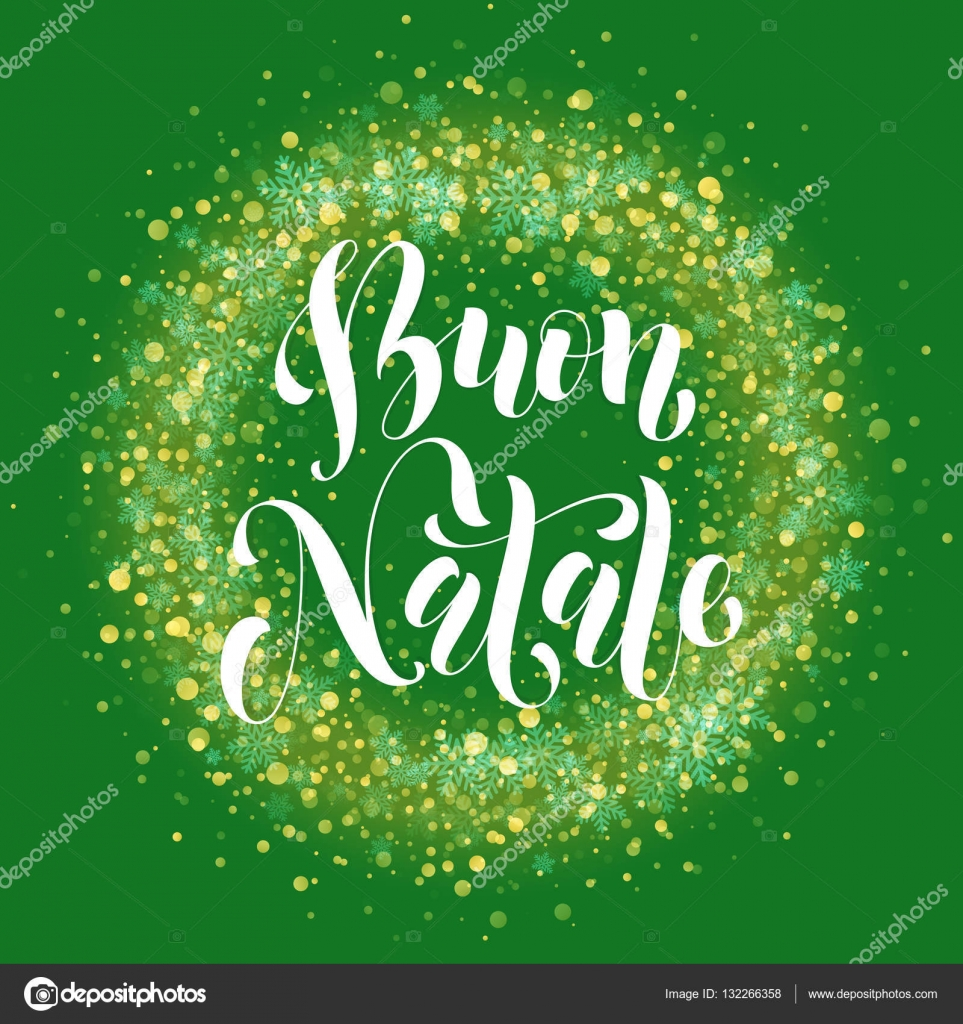 italian merry christmas text buon natale decoration snowflake glitter glow stock vector