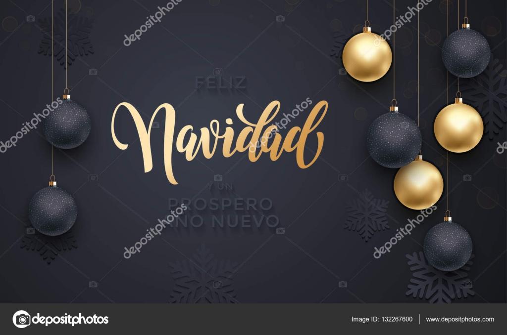 Weihnachtsgrüße Auf Spanisch.Spanisch Merry Christmas Feliz Navidad Goldene Dekoration