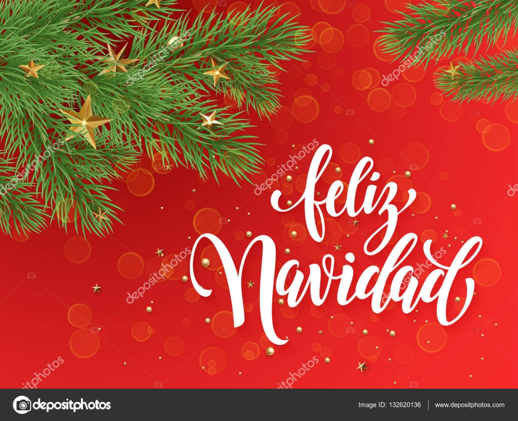 spanish merry christmas feliz navidad text greeting calligraphy lettering decorative red background with golden christmas ornament decorations of gold - Spanish Christmas Decorations