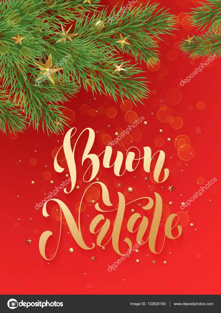 Italiaanse Merry Christmas Buon Natale Achtergrond Decoratie Sterren