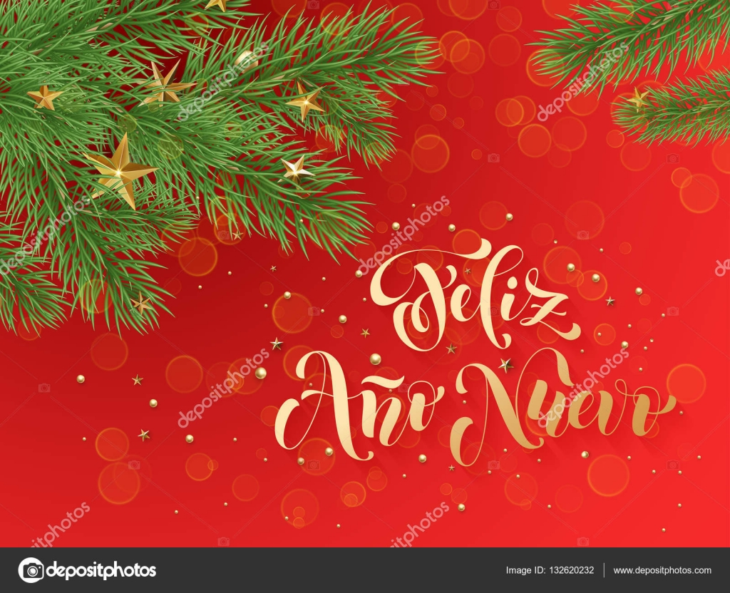 feliz ano nuovo spanish merry christmas text greeting calligraphy lettering decorative red background with golden christmas ornament decorations of gold