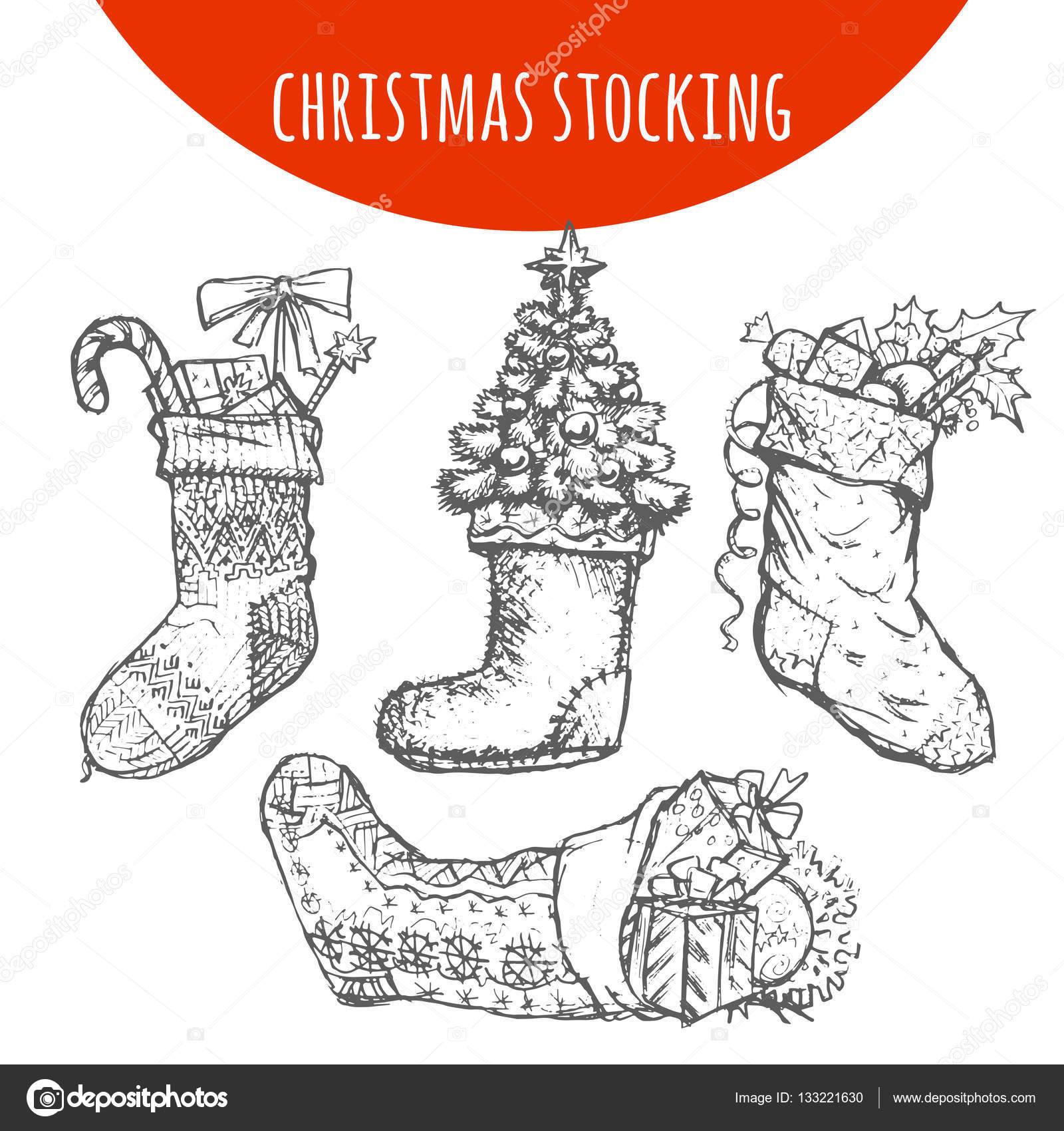 Drawings Of Christmas Stockings.Christmas Stocking Sock Decoration With Gifts Vector Sketch