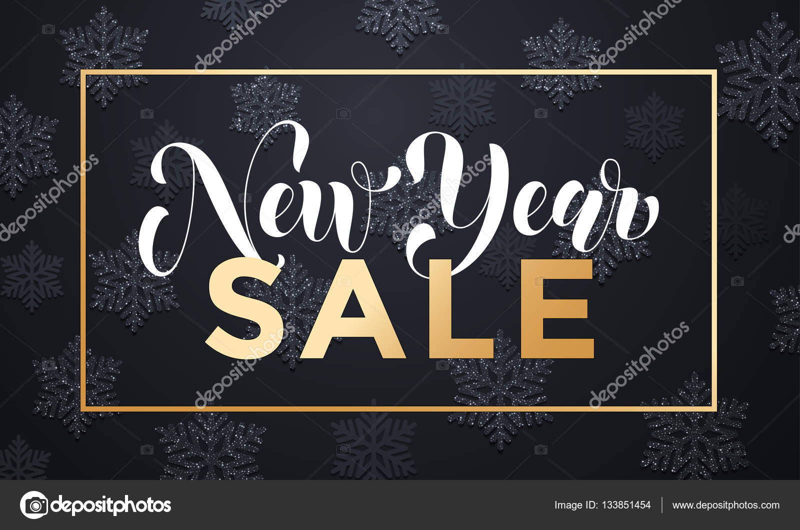sale banner background for new year shopping sale gold glittering frame flat text with shadow snowflakes pattern design with for web online store or shop