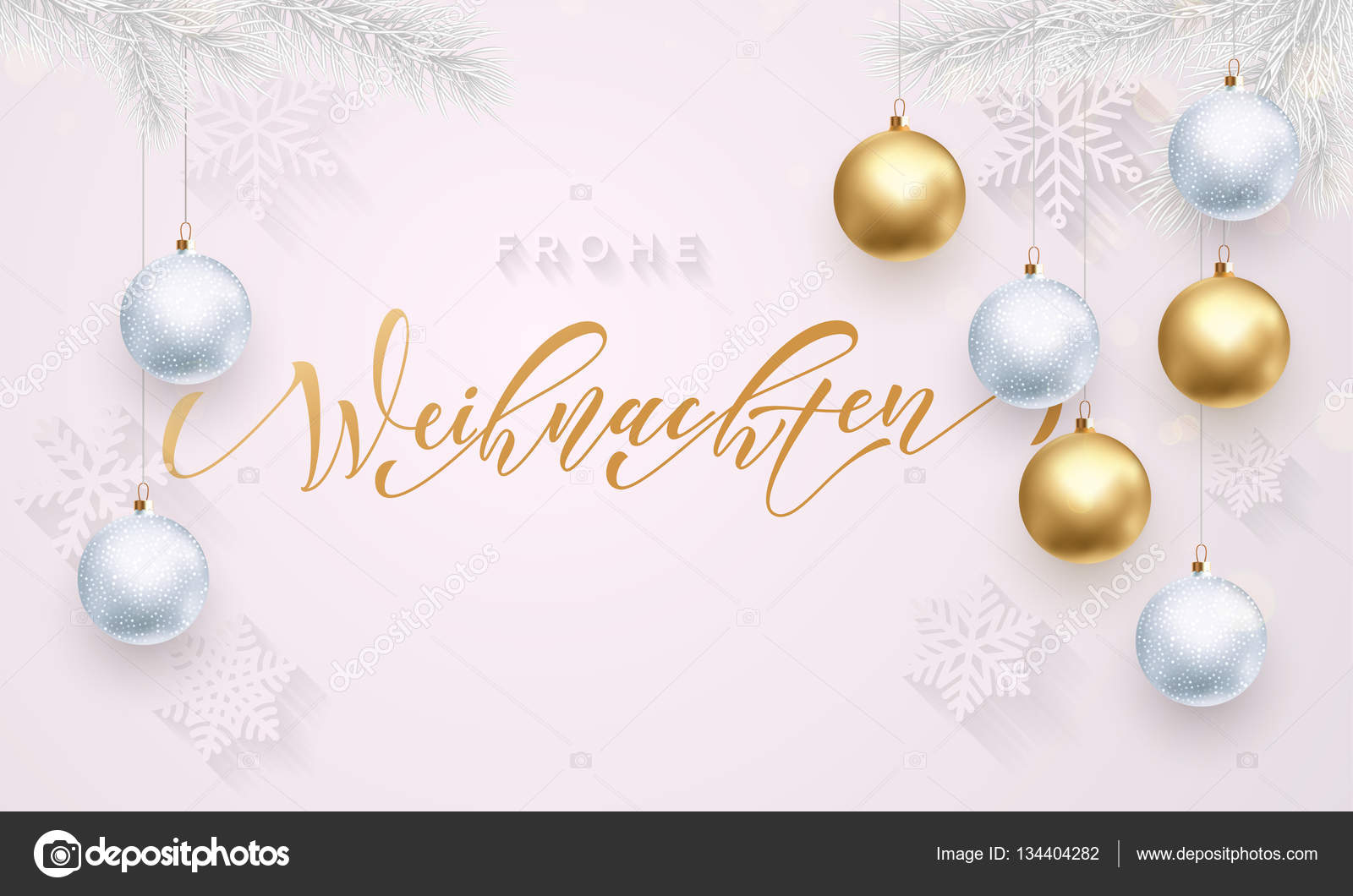 German Christmas Frohe Weihnachten Gold And White Snowflake Ornament