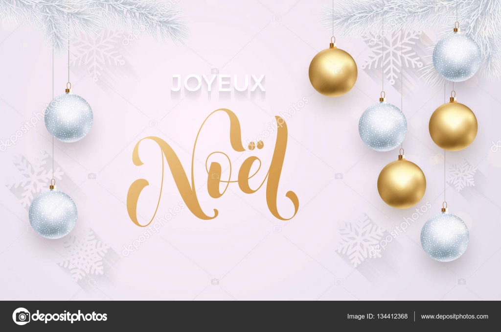 French merry christmas joyeux noel decoration golden ornament white premium luxury christmas holiday greeting card gold calligraphy vector by ronedale m4hsunfo
