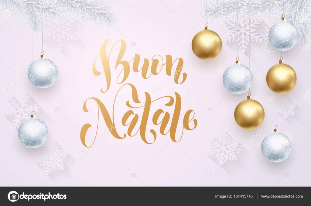 Italian merry christmas buon natale golden white snowflake italian merry christmas buon natale golden white snowflake decoration calligraphy stock vector m4hsunfo