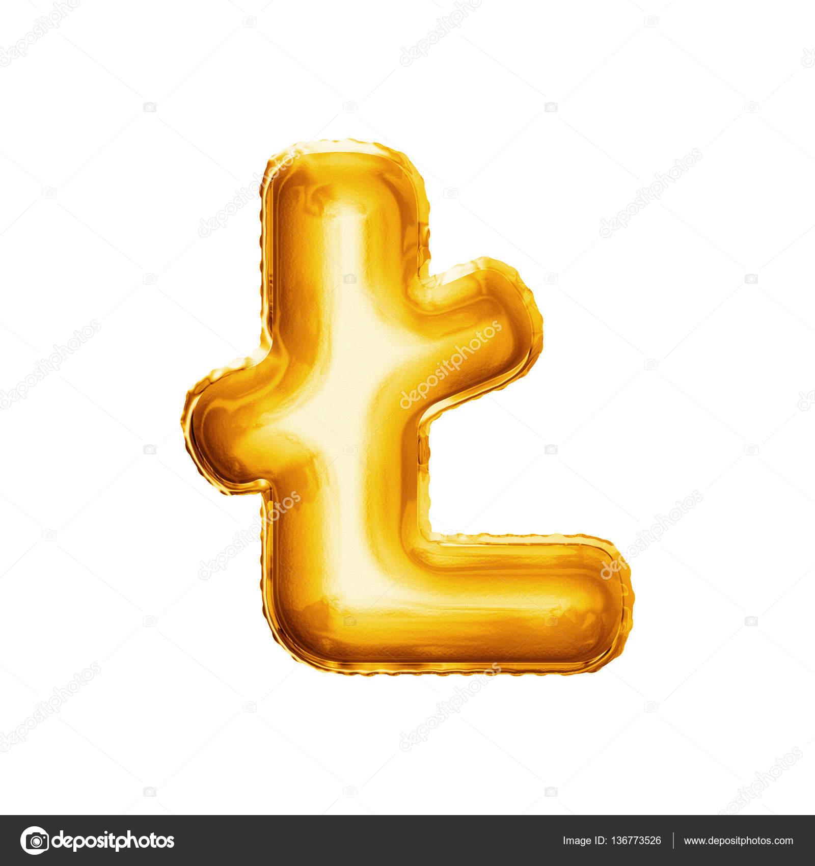 Balon Litery L Z Stroke 3d Złotym Realistyczne Alfabet Zdjęcie