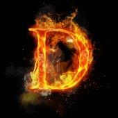 Fotografie Fire letter D of burning flame light