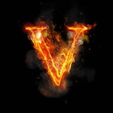 Fire letter V of burning flame light