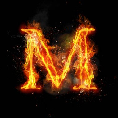 Fire letter M of burning flame light