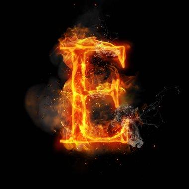 Fire letter E of burning flame light