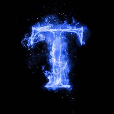 Fire letter T of burning flame light