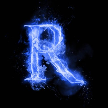 Fire letter R of burning flame light