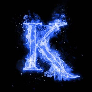 Fire letter K of burning flame light